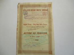 Ateliers Veuve Math SNOECK - Action Au Porteur - 1891 - Industrie
