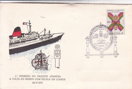 """SPC. 1° CRUZEIRO DO PAQUETE """"FRANCE"""" A VOLTA DO MUNDO COM ESCALA EM LUANDA 1972. ANGOLA.-BLEUP - Angola"""