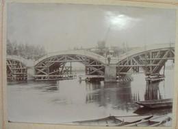 Travaux Sur Le Pont De Moscou à Montereau (chemin De Fer) - Belle Photo Fin XIXème Tampon Au Dos Lécuiller à Montereau - Photos