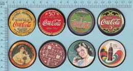 Pogs, Originale Serie #1 Au Complet, 8 De 8  - Caca Cola, Coke Cap Pugs, - Coca-Cola