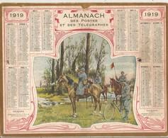 CALENDRIER DES POSTES ANNEE 1919  AU VERSO FEUILLETS DEPARTEMENT SEINE MARITIME - Calendars