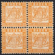 Allemagne Bade (1862) N 21 (Luxe) Bloc De 4 - Baden