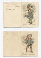 2 CARTES DE BONNE ANNEE MIGNONNETTE DE 1895 ---RECTO/VERSO- B9 - Neujahr