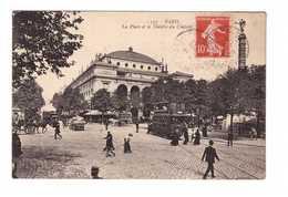 Chemin De Fer Tram Tramway Paris La Place Et Theatre Du Chatelet Attelage Cpa Carte Animée 1909 - Tramways