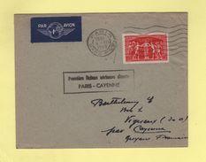 Premiere Liaison Aerienne Directe Paris Cayenne - Paris Gare PLM - 4-12-1949 - Postmark Collection (Covers)
