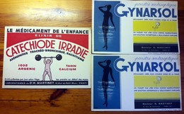 3 Buvards Anciens PRODUITS PHARMACEUTIQUES LABORATOIRES Dr MARTINET Paris -GYNARSOL - CATECHIODE IRRADIE ARSENIC P.K D'A - Drogerie & Apotheke