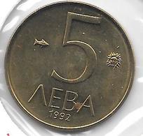 *Bulgaria 5 Leva  1992  Km 204  Unc - Bulgarie