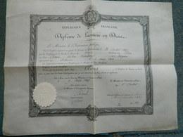 DIPLOME DE LICENCIE EN DROIT PARIS 1887 - Diplomas Y Calificaciones Escolares