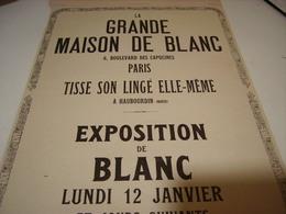 ANCIENNE PUBLICITE MAGASIN LA GRANDE MAISON DE BLANC EXPOSITION  1914 - Vintage Clothes & Linen
