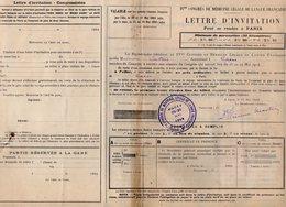 VP12.079 - LYON 1914 - 4è Congrès De Médecine - Lettre D'invitation Pour Se Rendre De CAEN à PARIS Par Le Chemins De Fer - Titres De Transport