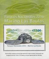 COSTA RICA PARK MARINO LAS BAULAS,TURTLES,EMBOSSED SPECIAL VARNISH,S/S Sc 680 MNH 2016 - Schildkröten