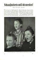 Schauspielerin Will Ich Werden (von Trude Sand)  / Artikel, Entnommen Aus Zeitschrift /1936 - Bücher, Zeitschriften, Comics