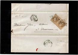 LCA4 -  NAPOLEON III LAURE 10c TYPE I PAIRE HORIZ. SUR LAC ROCHEFORT / MARENNES 25/7/1868 - 1863-1870 Napoléon III Lauré