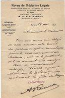 VP12.080 - 1911 - Lettre Du Secrétaire De La Revue De Médecine Légale à PARIS Pour Mr Le Docteur CATOIS à CAEN - Manuscripts