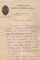 VP12.081 - 1914 - Lettre Du Professeur E.MARTIN De Institut Médico - Légal De LYON Pour Mr Le Docteur CATOIS à CAEN - Manuscripts