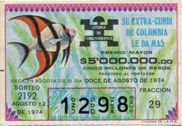 Lote 723, Colombia, Loteria, Lottery, Loteria De Cundinamarca, Sorteo 2192, Pez, Fish - Billetes De Lotería
