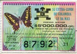 Lote 724, Colombia, Loteria, Lottery, Loteria De Cundinamarca, Sorteo 2198, Mariposa, Butterfly - Lottery Tickets