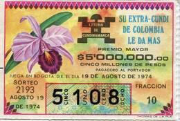 Lote 725, Colombia, Loteria, Lottery, Loteria De Cundinamarca, Sorteo 2193, Orquidea, Orchid - Lottery Tickets