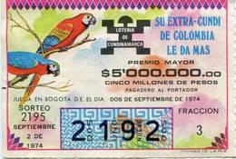 Lote 726, Colombia, Loteria, Lottery, Loteria De Cundinamarca, Sorteo 2195, Papagayo, Macaw, Bird - Lottery Tickets