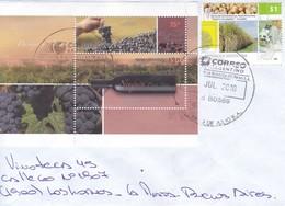 ENVELOPE SOBRE CIRCULEE LA PLATA. OBLIT 9 DE JULIO 2010. AVEC BLOCK WINE VINHO. RARE. ARGENTINA.-BLEUP - Oblitérés