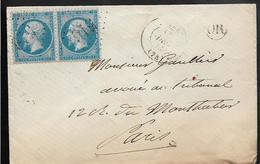 BOLBEC Seine Maritime Paire N° 22 Yvert 20c Empire + GC 516 + OR + Ambulant LE HAVRE à PARIS 3° 1863...G - 1801-1848: Précurseurs XIX