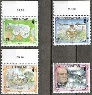 GIBRALTAR  1994 Anniversaires Pièces De Monnaies Royal Air Force Bibliothèque Garrison Sir Winston Churchill, 4 Val Mnh - Gibraltar