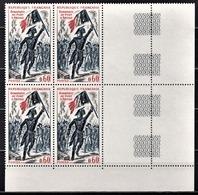 FRANCE 1972 - BLOC DE 4 TP / Y.T. N° 1730 - COIN DE FEUILLE NEUFS** - France