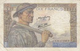 Billet 10 F Mineur Du 26-11-1942 FAY 8.6 Alph. V.23 - 1871-1952 Gedurende De XXste In Omloop
