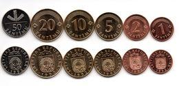 Latvia - 1 2 5 10 20 50 Santimu 1992 UNC Set 6 Coins Ukr-OP - Latvia