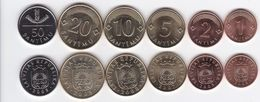 Latvia - 1 2 5 10 20 50 Santimu 2007 - 2009 UNC Set 6 Coins Ukr-OP - Latvia