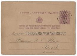 Belgique Belgie Entier Postal 5c Lion Couché Repiquage Brasserie De L'Abbaye, Vers 1876/1878 Cachet 8 Barres - Stamped Stationery