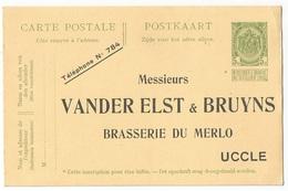 Belgique Belgie Entier Postal 5c Repiquage Brasserie Du Merlo, Vers 1910, Neuf - Stamped Stationery