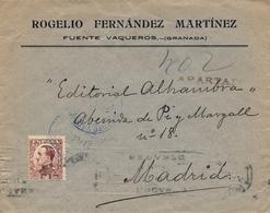 1932 , GRANADA , SOBRE COMERCIAL CIRCULADO , MAT. AZUL , FUENTE VAQUEROS - MADRID , LLEGADA - 1889-1931 Regno: Alfonso XIII