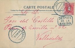 "1905 , VALLADOLID , TARJETA POSTAL CIRCULADA , MARCA "" DESPUÉS DE LA SALIDA "" - 1889-1931 Kingdom: Alphonse XIII"