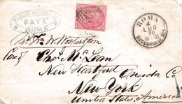 R285 - Bustina Da Roma A New York Del 1877  Con Cent 40 Carminio  DLR  Leggi.... - Storia Postale