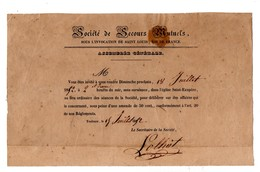 31 - TOULOUSE . ÉGLISE SAINT-EXUPÈRE . SOCIÉTÉ DE SECOURS MUTUELS . ASSEMBLÉE GÉNÉRALE LE 18 JUILLET 1852 - Réf. N°65F - - Documenti Storici