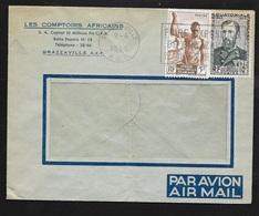 AEF Lettre Par Avion Les Comptoirs Africains Brazzaville  Le 09/06/1953 Les N°221 Et 228  Flamme  Foire Exposition..B/TB - Lettres & Documents