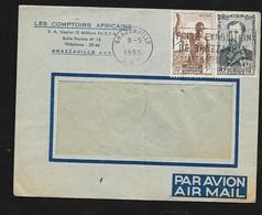 AEF Lettre Par Avion Les Comptoirs Africains Brazzaville  Le 08/5/1953 Les N°221 Et 228  Flamme  Foire Exposition..B/TB - Lettres & Documents