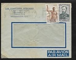 AEF Lettre Par Avion Les Comptoirs Africains Brazzaville  15/9/1953 N°221 Et 228  Flamme  Carrefour De L' Afrique .B/TB - Lettres & Documents