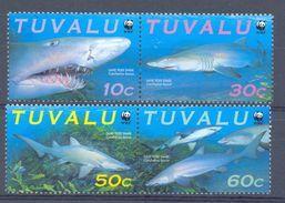 Nbx266s WWF FAUNA 'VISSEN FISH FISCHE' HAAIEN SAND TIGER SHARKS MARINE LIFE HAIE TUVALU 2000 PF/MNH - W.W.F.