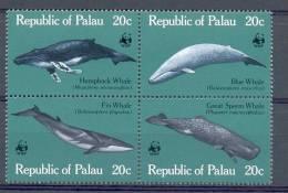 Mud005s WWF FAUNA ZEEZOOGDIEREN WALVIS WHALE SEA MAMMALS BALEINES MARINE LIFE PALAU 1983 PF/MNH - W.W.F.
