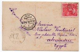 GRECE/GREECE/GRECIA - 1910 POSTCARD FROM CHIO/SCIO TO EGYPT/ AUSTRIA LEVANT STAMP-CANCEL AUSTRIA POST OFFICE - Grecia