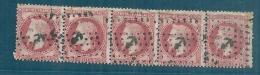 Napoléon Lauré Bande De 5 - N° 32 RARE Aspect TB  Oblitération Ancre Côte Normale 225€ Plus Value Ancre 50€ - 1863-1870 Napoléon III Lauré