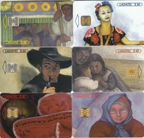 Mexico Phonecard LADATEL TELMEX  DIEGO RIVERA PAINTINGS  Set Of 6 Cards No Credit Used - Mexico