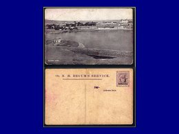 """INDE BHOPAL Entiers Postaux Yvert:1937, Cp. Illustré Neuve: """"""""On H.H. Begum's Service"""""""". 1/2 Sur 1/4a. Violet: Vue Du La - Bhopal"""