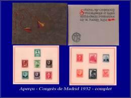 ESPAGNE  Yvert:Livret Officiel Du Congrès De Madrid 1932, Contenant Des Timbres D'époque, Espagne Et Colonies      - Qua - Spain