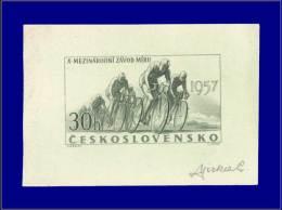 TCHECOSLOVAQUIE Epreuves D'Artiste Yvert:900, épreuve D'artiste En Olive, Signée: 30h. Tour Cycliste, Paix      - Qualit - Czechoslovakia