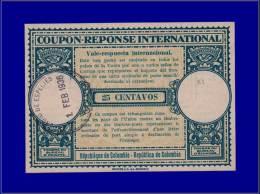"COLOMBIE Coupons Réponse Yvert:CRIN 4, Coupon 25centavos. (1936). Indice """"D""""      - Qualité: N - Colombia"