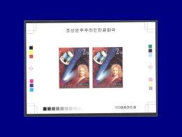 COREE DU NORD Blocs Spéciaux Yvert:Michel 4504, Bf. Collectif, (1 Paire), Non Dentelé, (tirage 100): Comète De Halley    - Korea, North