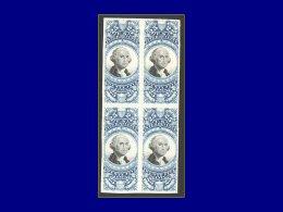 ETATS UNIS Fiscaux Yvert:Scott R 112, Bloc De 4, Tirage Sur Bristol: 25c. Bleu Washington      - Qualité: (X) - United States